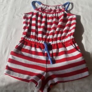 Mini Boden one piece shorts red white and blue 7/8